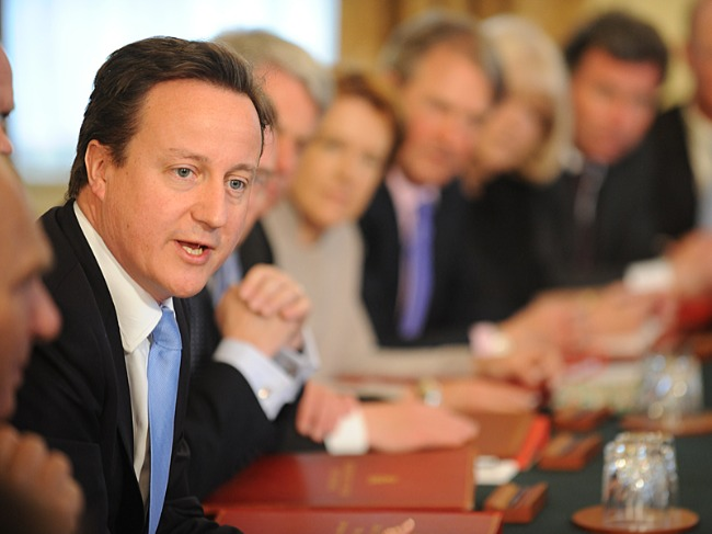 Prime Minister David Cameron speaking at the first Cabinet meeting on 13 May 2010, Crown copyright.