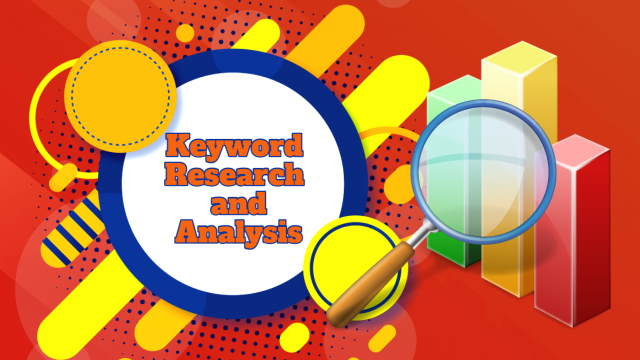 "Image which bears the text: ""Keyword research and analysis""."