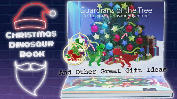 """Featured image with text: """"Christmas Dinosaur Book""""."""