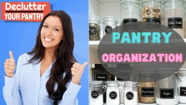 "Image with text: ""Declutter your pantry with pantry organisation""."
