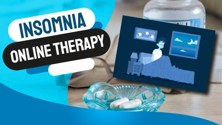 """Image has text: """"Insomnia online therapy""""."""