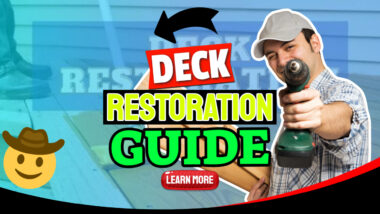 """Featured image text: """"Deck restoration guide""""."""